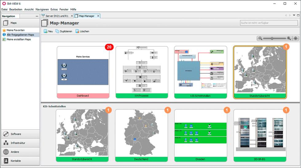 Schreenshot vom SM-VIEW Maps mit Blick auf alle erstellten Maps des Users